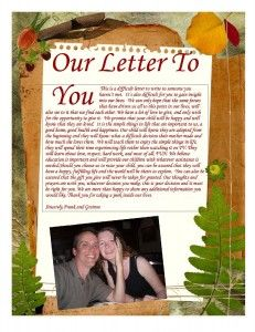 Letter To Birth Parents Example Foster