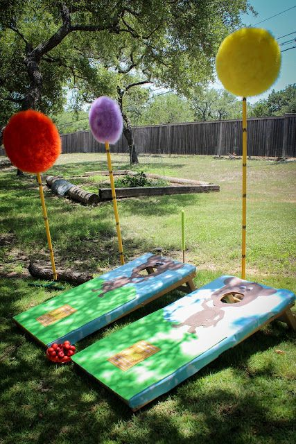 Lorax party game: Feed truffula fruits to the Barbaloots