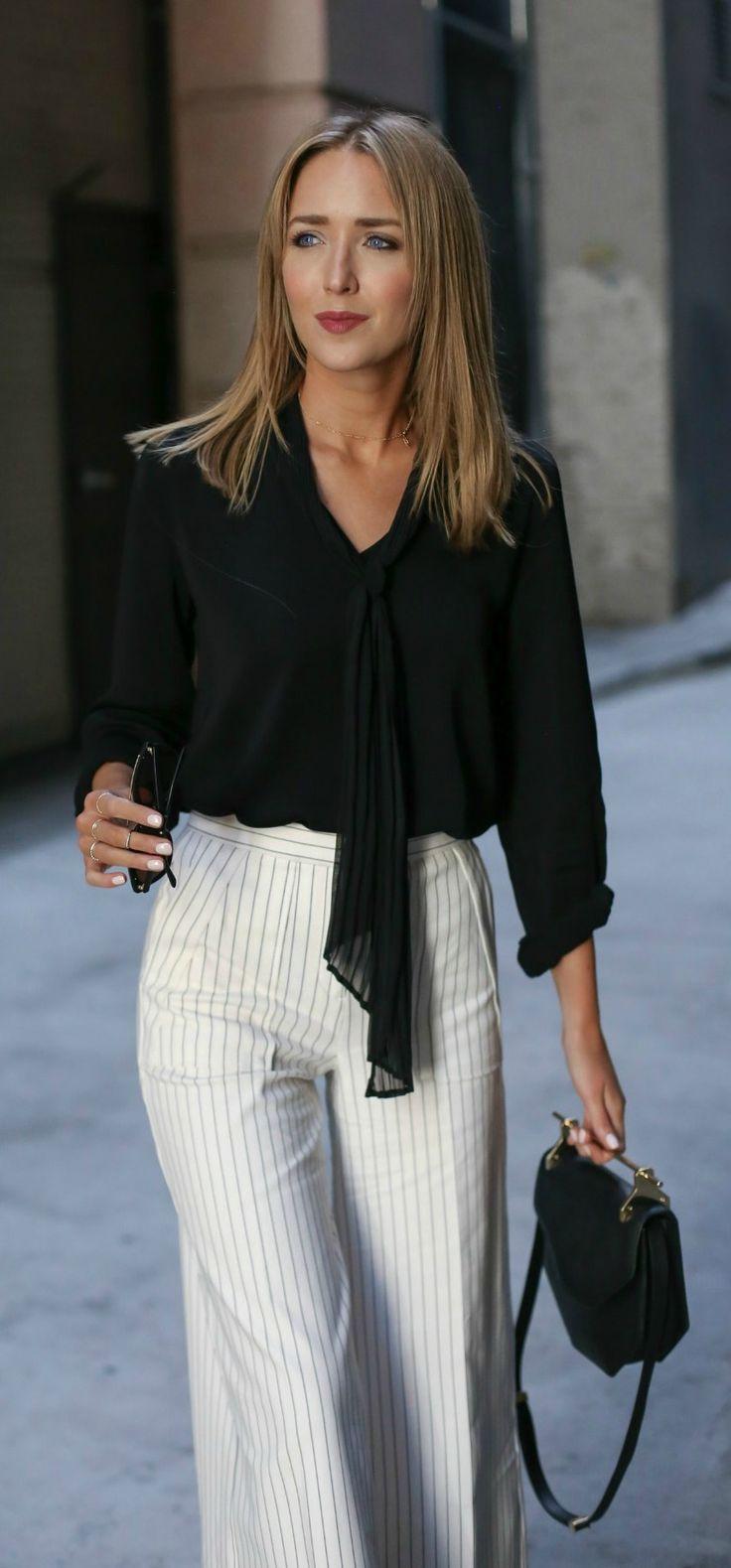 pinstripe wide leg cropped pants, black tie neck blouse, black handbag + sunglasses {ann taylor,  m2malletier, smoke x mirrors}