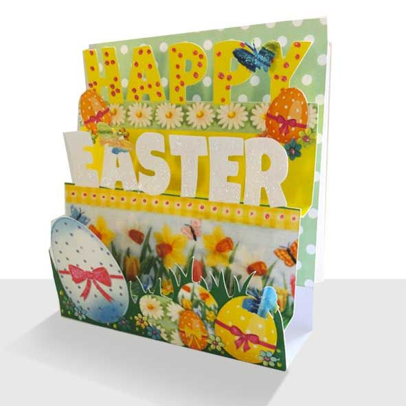 Pop Up Easter Card - Unique 3d Handmade, Unique Greeting Cards Online, Buy Luxury Handmade Cards, Unusual Cute Birthday Cards and Quality Christmas Cards by Paradis Terrestre