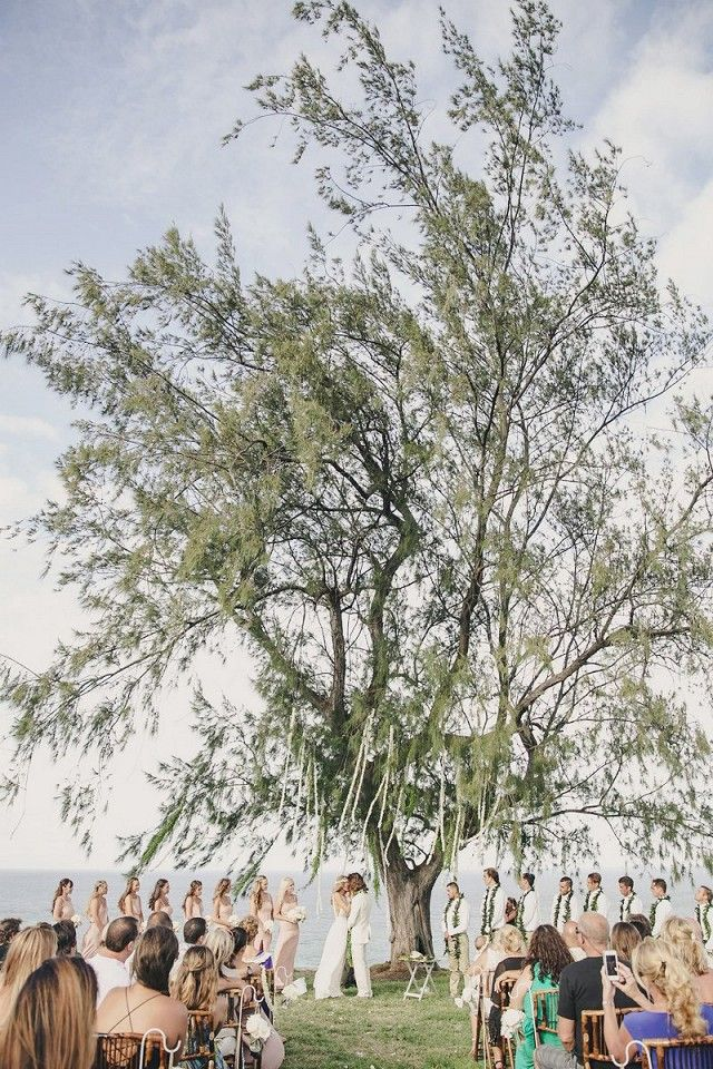 Bohemian wedding ceremony underneath a tree overlooking the water