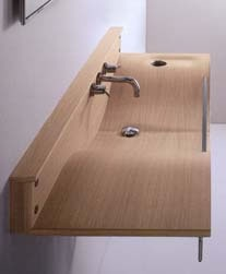 Agape Woodline bathroom washbasin in wood, 100cm wide X 40cm deep X 14cm high, made of multi-strated  natural plywood