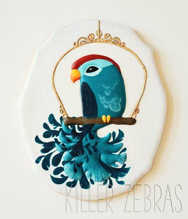 Bird cookie~By killer zebras, blue parrot