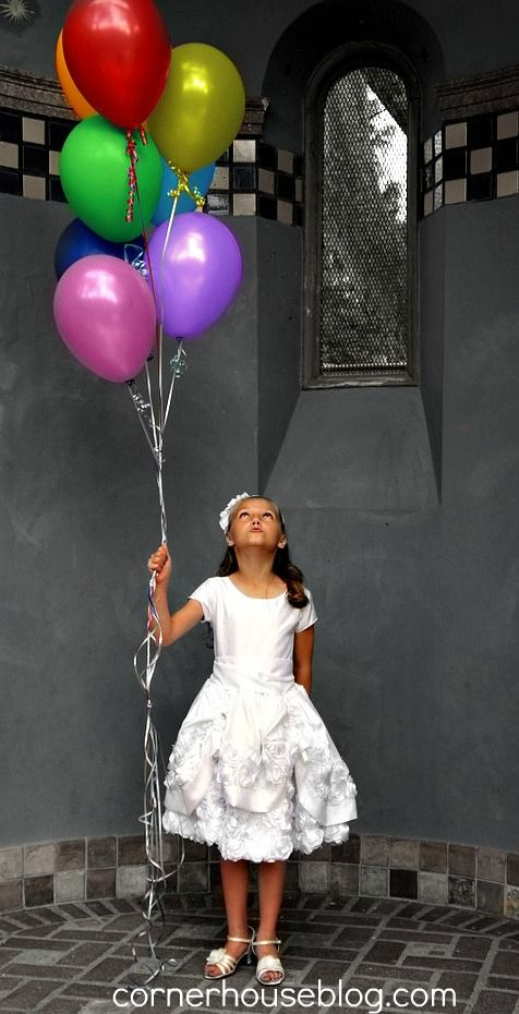Like this rainbow balloon picture with the temple for a baptism photo shoot.