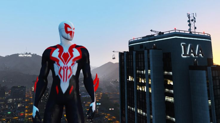 """Play as Spider-Man 2099 All new All differentin GTA 5!!!!  (This is a re-texture based on jr59's classic Spider-Man 2099 https://www.gta5-mods.com/player/spiderman-2099-add-on-ped)    Use this mod to use PEDS as Add-Ons   https://www.gta5-mods.com/scripts/addonpeds-asi-pedselector     Or Replace any Ped you want just rename the files to whatever ped you want to replace """"example: ig_bankman"""""""