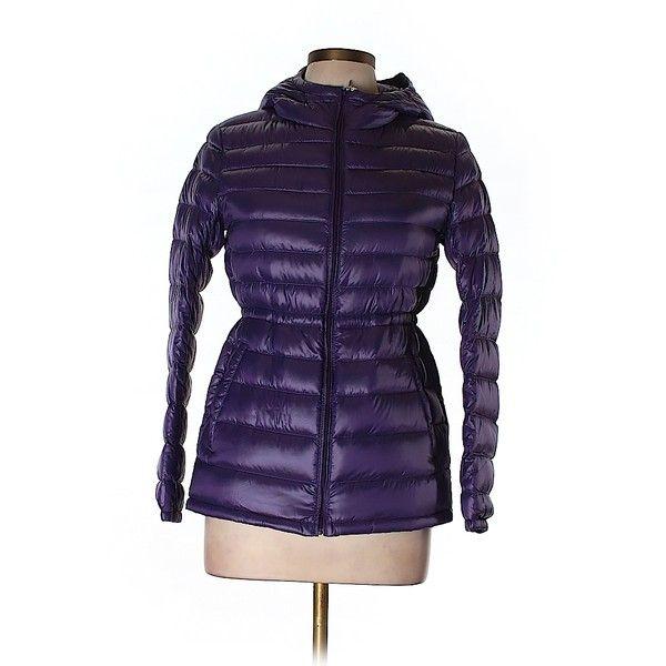 Pre-owned Uniqlo Coat (1,365 PHP) ❤ liked on Polyvore featuring outerwear, coats, dark purple, uniqlo, uniqlo coats and purple coat
