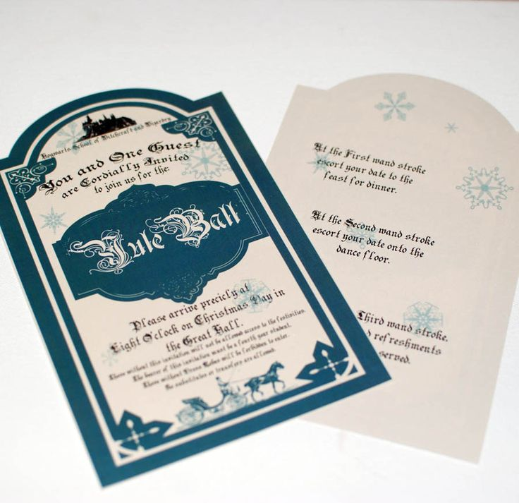Yule Ball Invitation for Hogwarts, on Christmas day - Sparkly Harry Potter Invitation. $8.00, via Etsy.