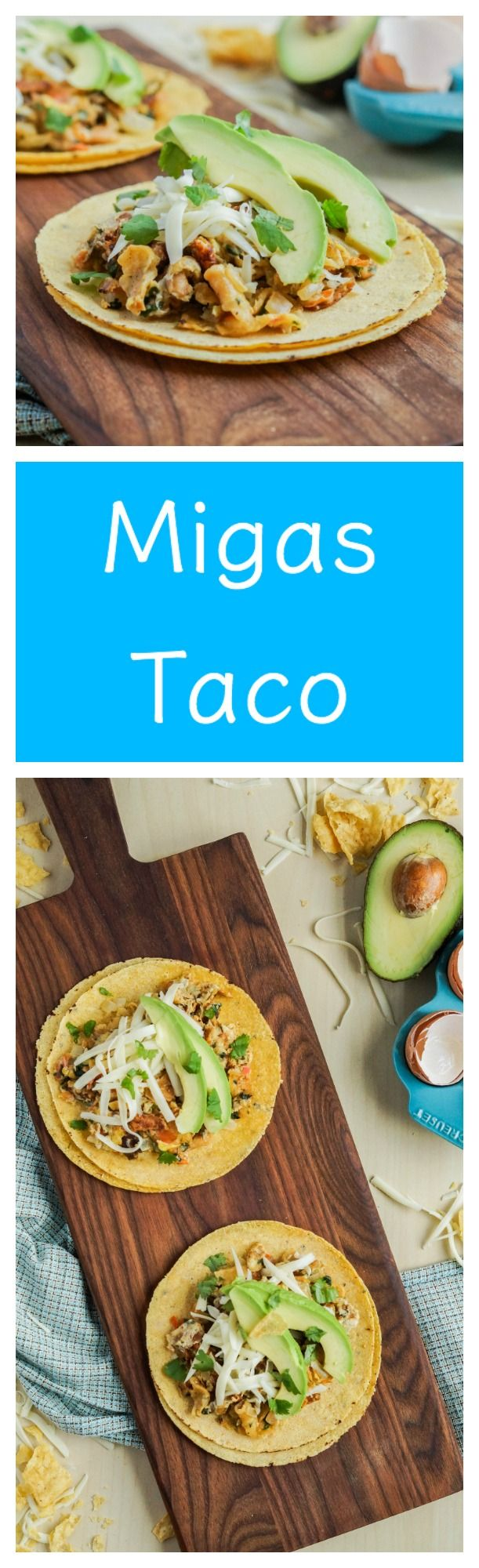 Migas Taco- Breakfast taco with crisp tortilla chips, scrambled eggs, tomato, onion, and cilantro  #migas #taco #breakfast #wrap #egg #tortilla #tomato