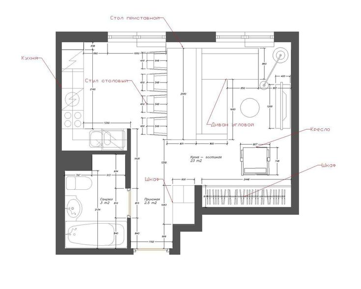 Проект типовой однушки мини-студия на 23 кв.м.