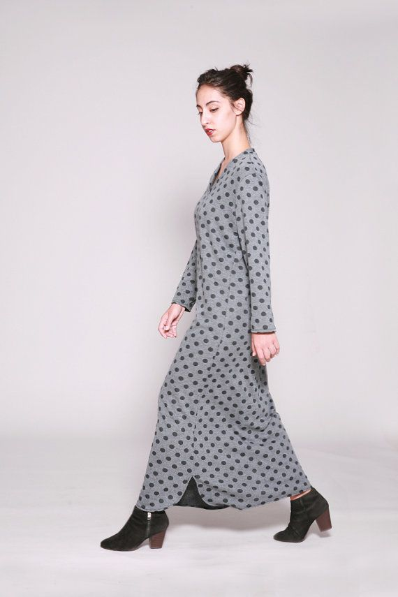 Loose Fitting Polka dot Dress, #Maxi Dress Long Sleeve, #Grey Dress black dots,  Autumn Dress, Winter Clothing by Dragonflyhm