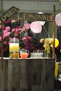 "First Birthday Party Idea! Lemonade Stand with ""You are my Sunshine"" Birthday theme."