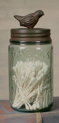 Decorative pint mason jar with songbird lid green rust by ctw home collections