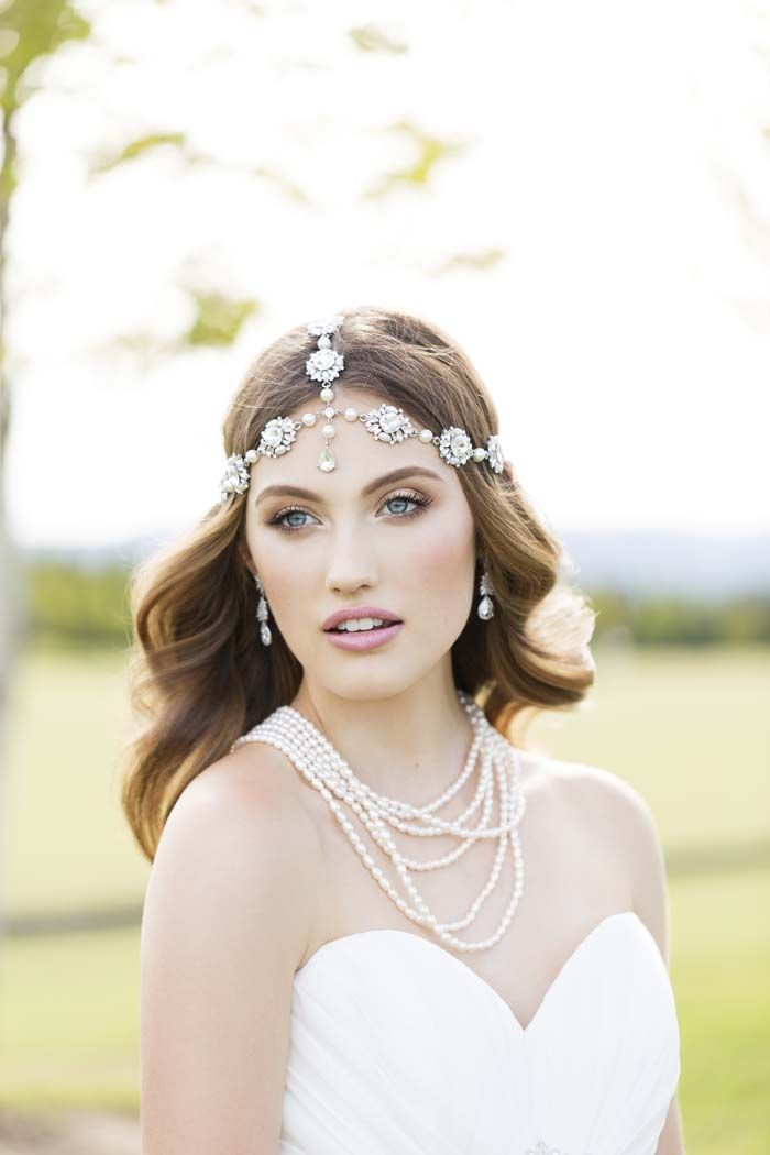 Modern Wedding Boho Luxe Wedding Dress Editorial // Headpiece & Jewellery by Wendy Louise Designs available from Belle Folie Design Studio, Wedding Dress by Mon Cheri. Photography by Lara Milenko. #weddingdress