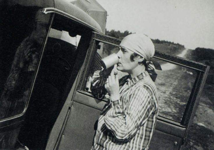 """Lili Brik in failed """"Motor rally from Moscow to St.Petersburg"""", 1929"""