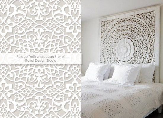 carved white headboard 1