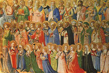 OS PRECURSORES DE CRISTO COM SANTOS E MÁRTIRES (c.1423-24).  Fra Angélico (c. 1395 - 1455). Têmpera sobre madeira (31,9 x 63,5 cm). National  Gallery, London.