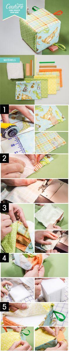 PAS À PAS: Cube sensitif pour bébé #DIY #bébé #baby #child #enfant #couture #sewing http://clubtissus.com/articles-blog/articles-couture/projet-cube-sensitif-pour-bebe