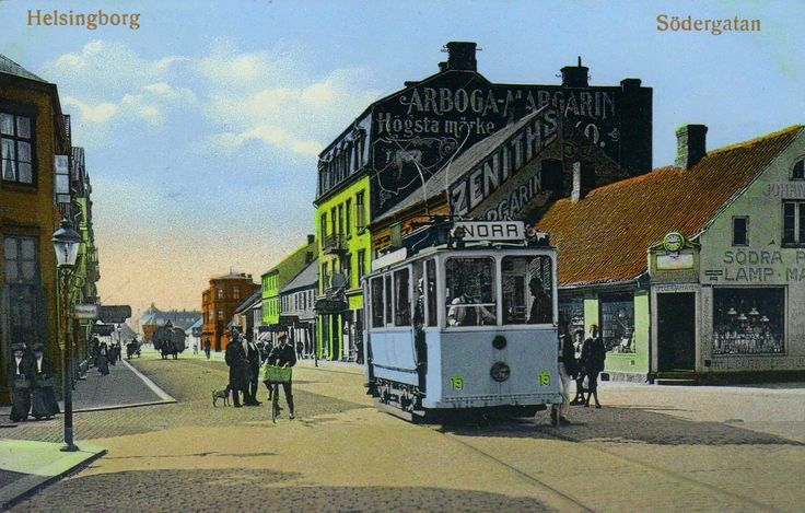 A nice old postcard of a tram in Helsinborg around 1915.
