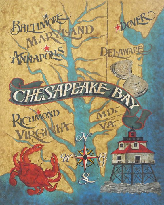 Chesapeake Bay  Map style  Print  artdecor by ZekesAntiqueSigns