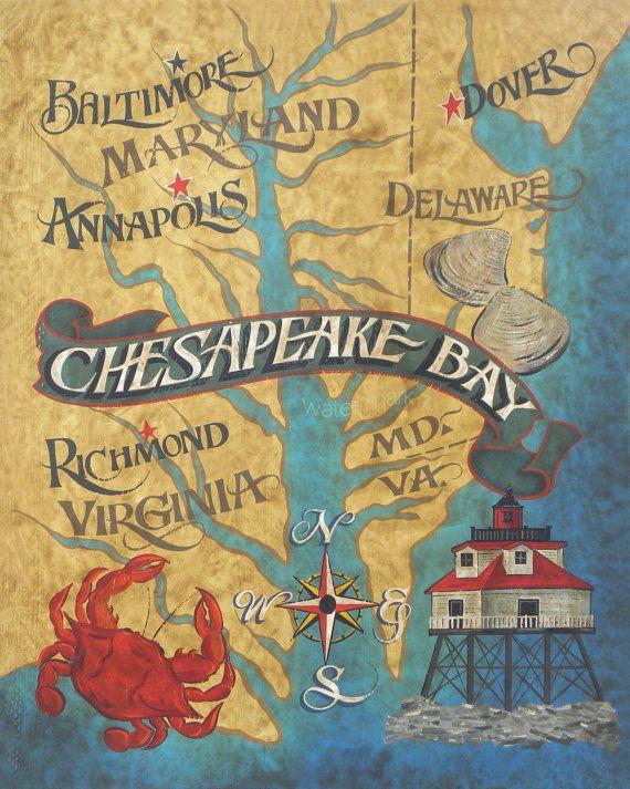 Chesapeake Bay  Map style  Print  artdecor by ZekesAntiqueSigns