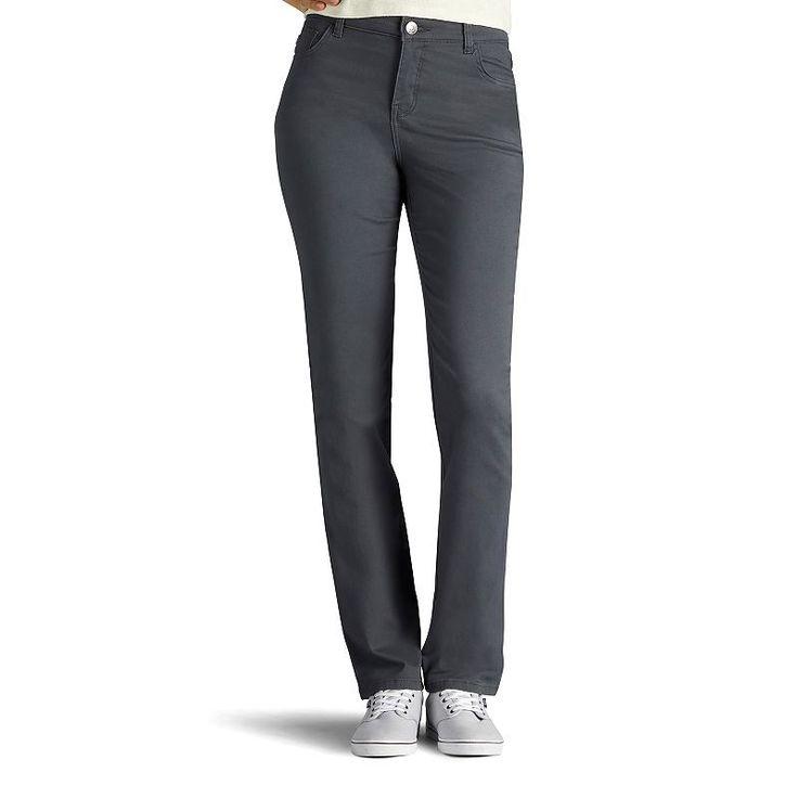 Women's Lee Classic Fit Straight Leg Pants, Size: 4 - regular, Grey (Charcoal)