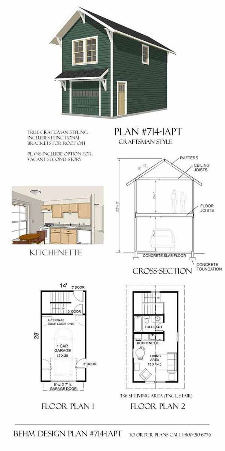 Garage plans craftsman style one car two story garage for Single story garage apartment