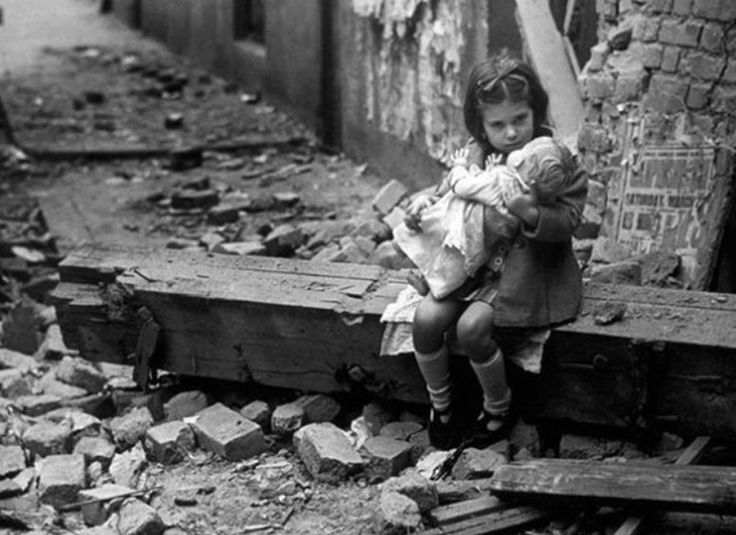 Rare Never Seen WW2 Photos  | Little Girl With Her Doll Sitting In The Ruins Of Her Bombed Home ...
