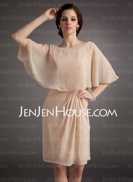 Sheath Scoop Neck Knee-Length Chiffon  Charmeuse Mother of the Bride Dresses With Beading (008006129)