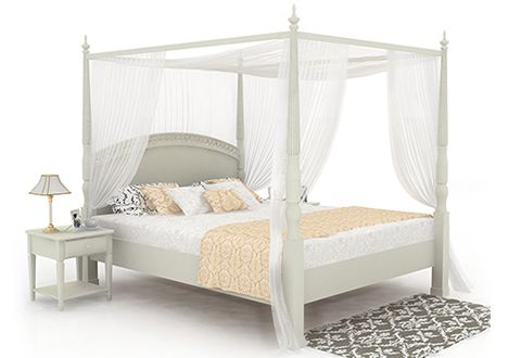 Vanesa Poster Queen Size Bed Without Storage (White Finish)
