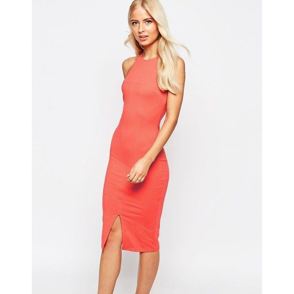 AX Paris Racer Neck Pencil Midi Dress (125 PEN) ❤ liked on Polyvore featuring dresses, orange, bodycon midi dress, white jersey, pencil dresses, midi pencil dress and orange bodycon dress