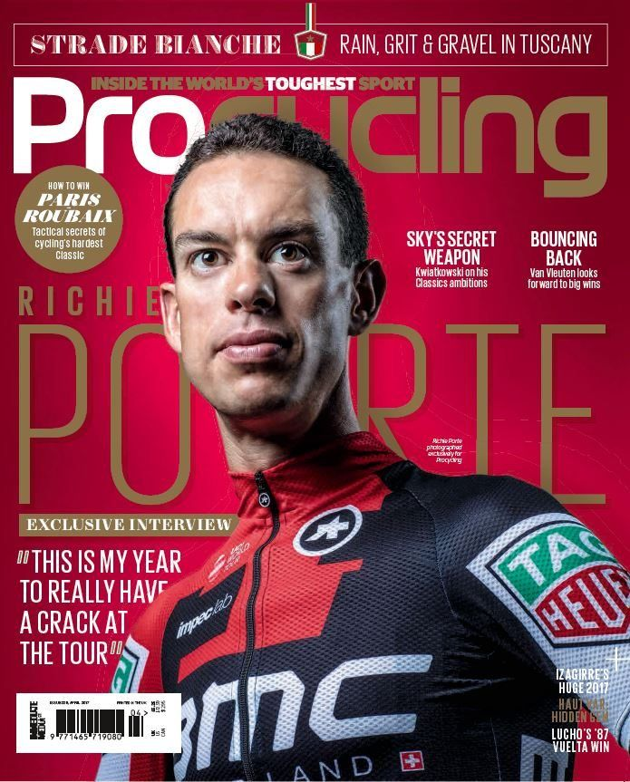 "In this issue:  EXCLUSIVE! Interview with Richie Porte, ""This is my year to really have a crack at the tour""  Sky's secret weapon - Kwiatkowski on his Classics ambition  Bouncing Back - Van Vleuten looks forward to big wins  Strade Bianche - Rain, grit and gravel in Tuscany  How to Win! Paris Roubaix - Tactical secrets of cycling's hardest Classic  PLUS: <ul>  	<li>Izagirre's huge 2017</li>  	<li>Haut Var: hidden gem</li>  	<li>Lucho's '87 Vuelta win</li> </ul>"