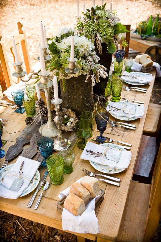 indoor/outdoor green & growing tablescape via CeremonyBlog.com