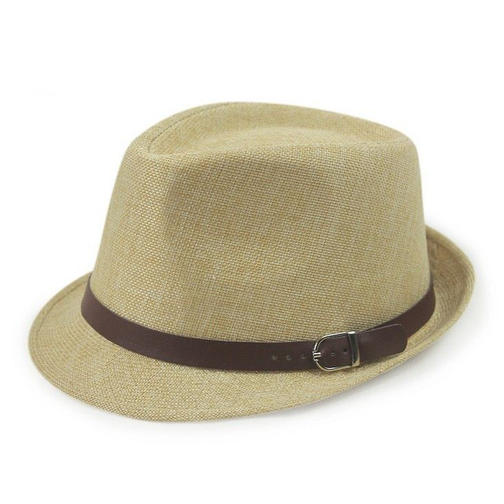 Unisex Linen Jazz Panana Outdoor Beach Hats w/Buckle 11 Colors