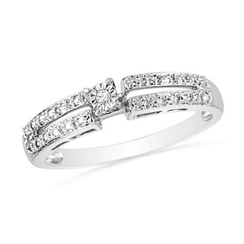 Platinum Plated Sterling Silver Round Diamond Promise Ring (0.01 Cttw) 7 Continents. $25.99