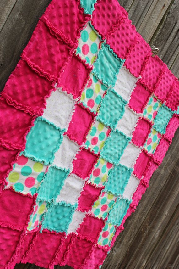 Adorable girl rag quilt!  Would be perfect in baby girl nursery as crib bedding/blanket. LOVE the bright fun colors! (pink nursery) Hot Pink Aqua & Green Polka Dot Frenzy Rag Quilt by BabyBazerk on Etsy, $75.00