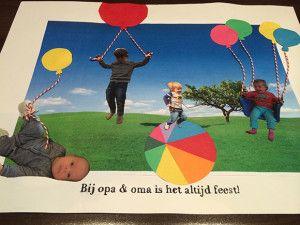 opa, oma, zelfgemaakt, zelf, gemaakt, cadeau, kado, knutselen, bedanken, bedankje, opa en oma dag, 4 juni, oppassen, logeren, kinderen, baby's, peuters, kleuters, juf, papa, mama, vaderdag, moederdag, foto's, plakken, ballonnen, feest, collage, kleinkinde