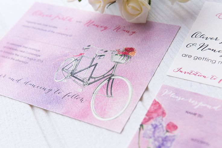 Sweet and unique invitation, with a romantic pink and light purple background