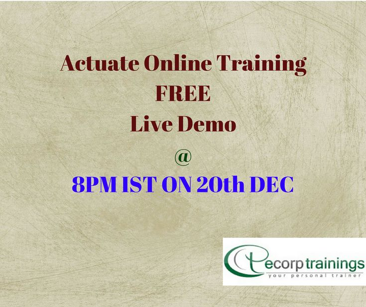 Ecorp trainngs provides best Actuate Online Training Course in HYDERABAD, INDIA, USA, UK and Australia. we provide Actuate training and all it courses. Contact ecorptrainngs.com