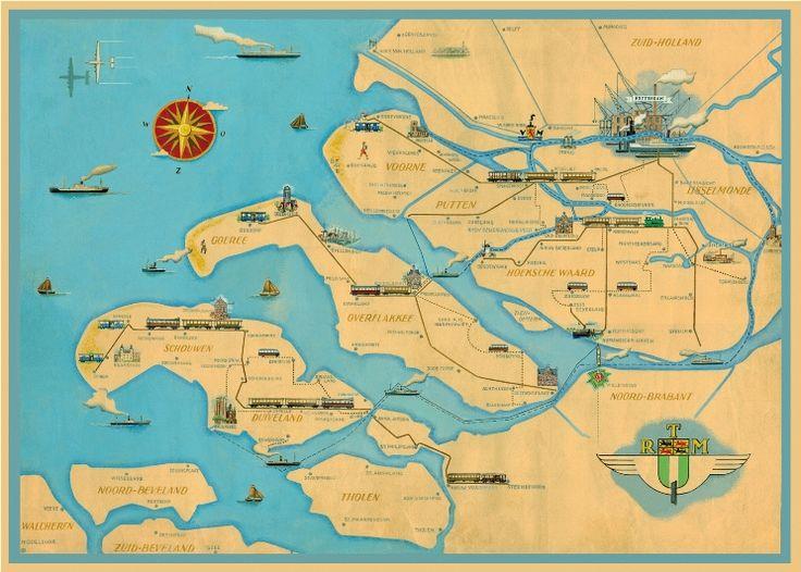 Prachtige kaart van het werkgebied van de Rotterdamsche Tramweg-Maatschappij (RTM) uit de collectie van het RTM Museum in Ouddorp.
