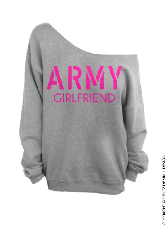"""Use coupon code """"pinterest"""" Army Girlfriend Sweatshirt - Gray with Pink Slouchy Oversized Sweatshirt by DentzDesign"""