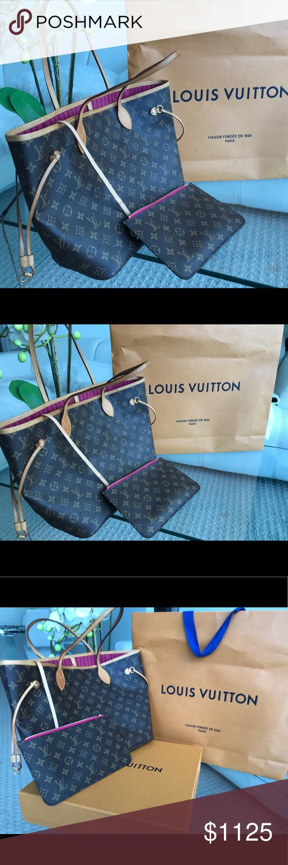 Louis Vuitton Neverful MM Fuchsia Unique beautiful color, in perfect condition, 100% Authentic, with Original Louis Vuitton orange bag and box, bought in the store. Leather in perfect condition! Straps and edges are perfect! Louis Vuitton Bags Totes