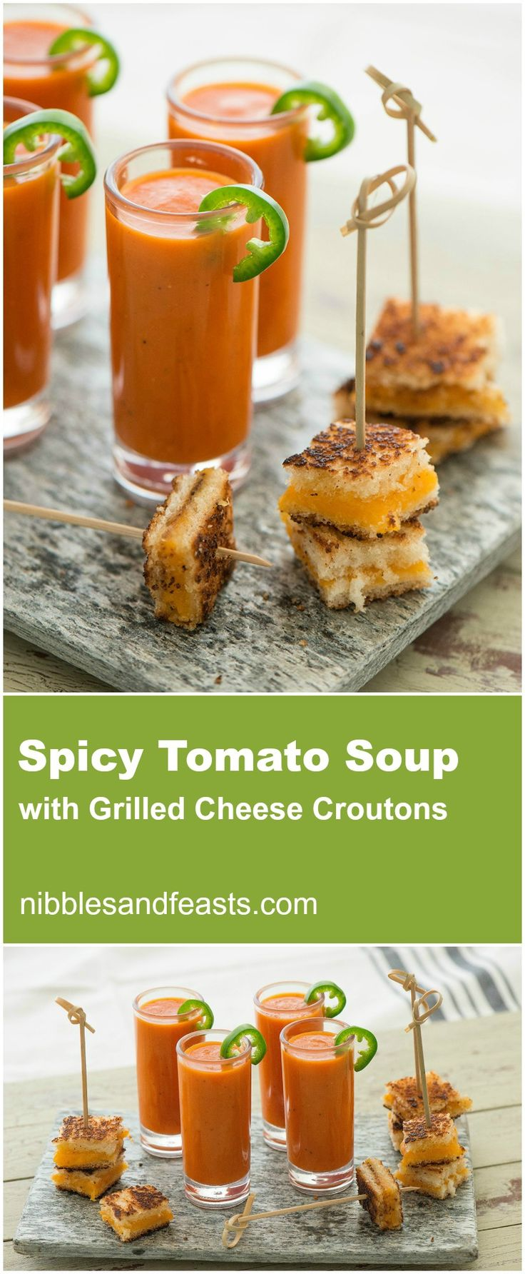 Spicy Tomato Soup with Grilled Cheese Croutons. Give this classic soup ...