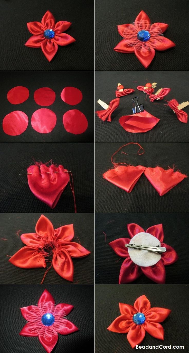 Kanzashi tutorial tutorials and kanzashi flowers on pinterest - 1000 Images About Fabric Flowers On Pinterest Kanzashi