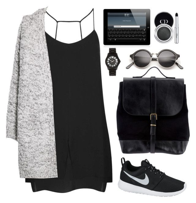 """""""Black tears"""" by daha-mk ❤ liked on Polyvore featuring Topshop, MANGO, Steve Mono, NIKE, Marc by Marc Jacobs and Christian Dior"""
