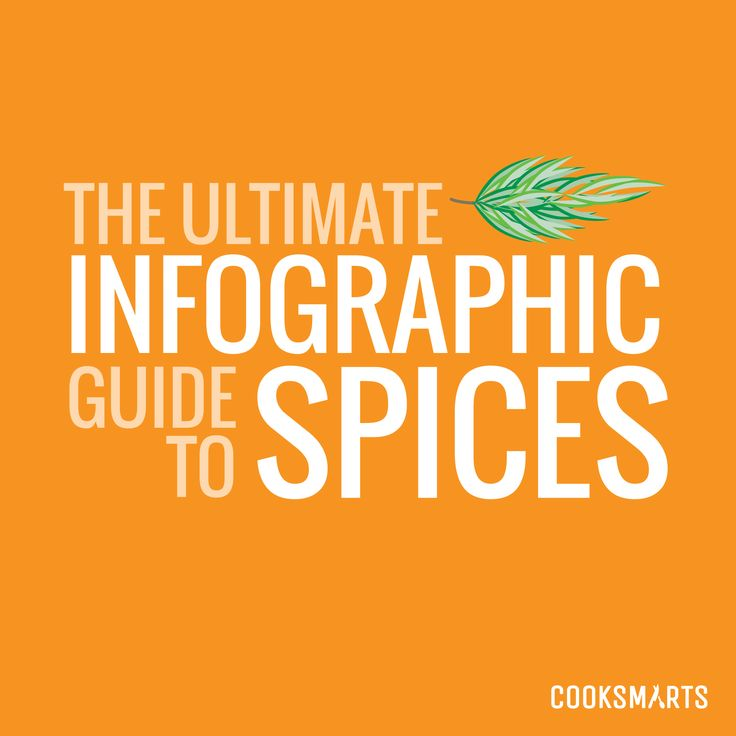 The Ultimate Infographic Guide to Spices - Cook Smarts-- This is an amazing guide! The infographics shows hitch spices to pair with what vegetables, proteins, cuisines, and even other spices.