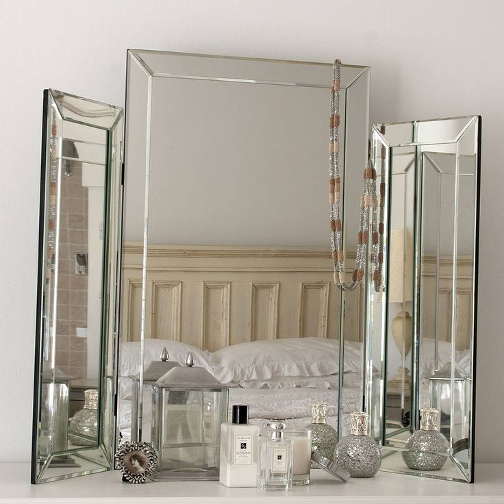 Attractive Large Bevelled Dressing Table Triple Mirror
