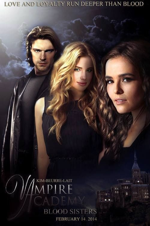 Vampire Academy: Blood Sisters fan art featuring Danila Kozlovsky as Dimitri Belikov, Lucy Fry as Vasilisa Dragomir and Zoey Deutch as Rose Hathaway.