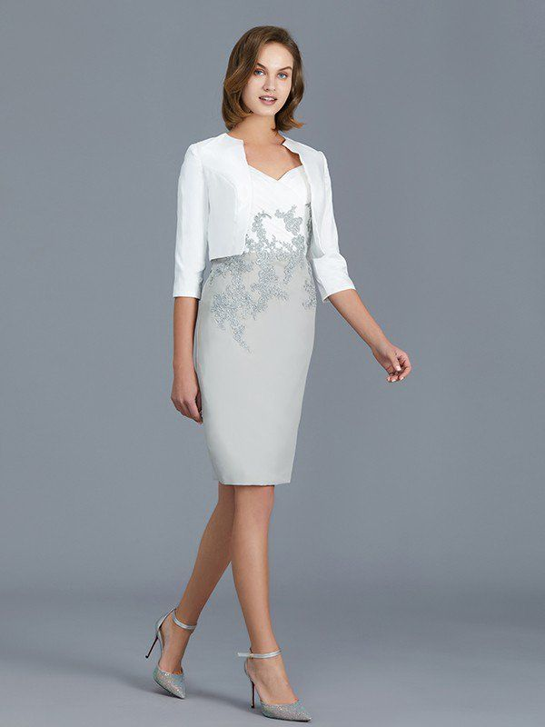 c4559db883a Sheath Column V-neck 1 2 Sleeves Ruffles Chiffon Knee-Length Mother of the Bride  Dresses - Hebeos Online