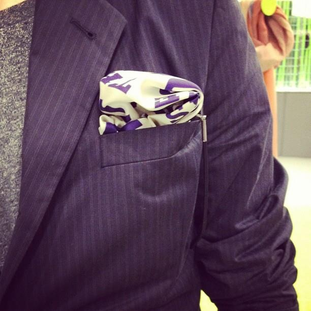 Style.com's News Editor Matthew Schneier spotted at Pitti UOMO wearing JANE CARR HOMME S/S 13 pochette