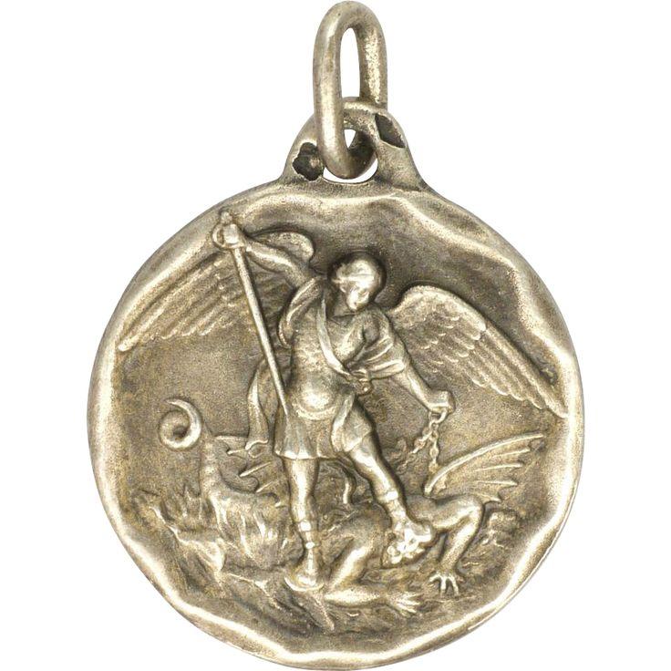 23 best saint michael images on pinterest saint michael san french antique st michael dragon silver medal charm aloadofball Choice Image